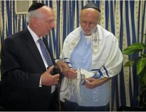 Rabbi Arthur Schneier, left, meets with imprisoned U.S. subcontractor Alan Gross March 6 in the facility where he is being held in Havana.