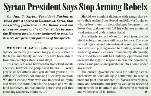 Syrian President Says Stop ArmingRebels